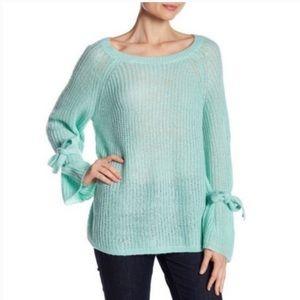 Project Naadam teal bell sleeve knit sweater medium